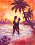 Loving couple, a girl and a guy on the beach. Sunset on the beac. H, romantic watercolor illustration or poster Stock Photo