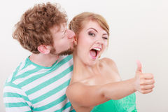 Loving couple girl holds thumb up gesture Stock Photo