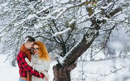 Loving Couple Happy Couple Christmas Winter New Year Snow Portrait Hugging Beautiful Forest. Loving Couple Happy Couple Christmas Winter New Year Snow Portrait Royalty Free Stock Photo