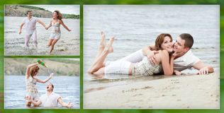 loving couple has fun on the beach stock image