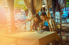 Loving couple having dinner in a restaurant Stock Images
