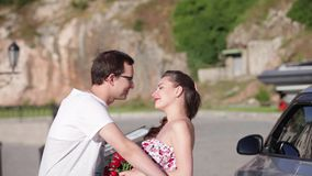 Loving couple having fun talking on walk. Loving couple having fun, talking on walk stock footage