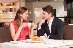 Loving Couple Having Romantic Breakfast At The Restaurant. Stock Photo