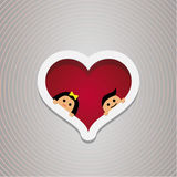Loving couple in the hear frame. For wedding and Valentine s Day. Vector design Royalty Free Stock Photos
