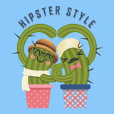 Loving couple of hipster cactus arm in arm Royalty Free Stock Images