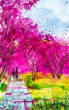 Loving couple holding hands walking along the path in the Park where the beautiful sakura blossoms.Watercolor illustration stock illustration
