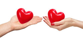 Loving couple holding hearts in hands isolated on white Royalty Free Stock Image