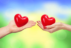 Loving couple holding hearts in hands over bright nature Stock Image