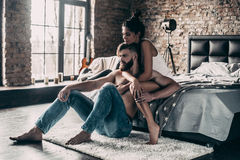 Loving couple at home. royalty free stock image