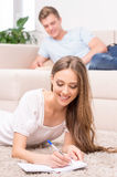 Loving couple at home. Stock Photo