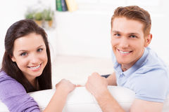Loving couple at home. Stock Images