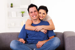 Loving couple hugging Stock Images