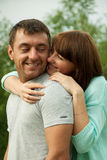 Loving couple hugging each other and having fun Stock Image
