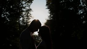 A loving couple hugs and kisses against the backdrop of sunset, the sunshine passes through their face.