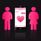 Loving couple of human shape and smart phone with chat bubbles Royalty Free Stock Images