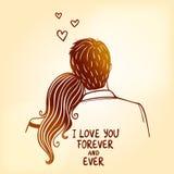 Loving couple. Illustration doodle silhouette of loving couple Stock Photos