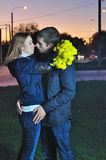 Loving couple kissing in the evening Stock Photo
