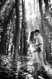 Loving couple kissing in the forest Royalty Free Stock Photo