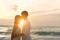 Loving couple kissing outdoor at sunset - Concept about people,. Love and lifestyle Royalty Free Stock Photography