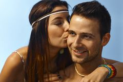 Loving couple kissing outdoors Royalty Free Stock Photo
