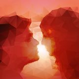Loving couple kissing at sunset, beautiful vector Stock Image