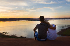 Loving Couple at the Lake Royalty Free Stock Photography