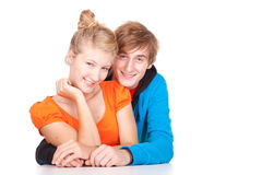 Loving couple leaning on the table Royalty Free Stock Photos
