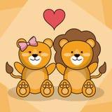 Loving couple lion animal baby heart decoration. Vector illustration Royalty Free Stock Image