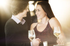 Loving Couple Looking At Each Other In Nightclub Royalty Free Stock Images