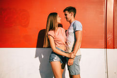 Loving couple looking at each other outdoors Royalty Free Stock Photo