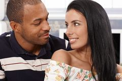 Loving couple looking at each other smiling Stock Images