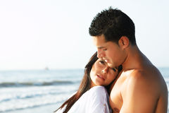 Loving couple looking at the horizon Royalty Free Stock Photography