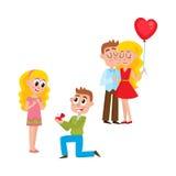 Loving couple, making proposal, happy together vector illustration