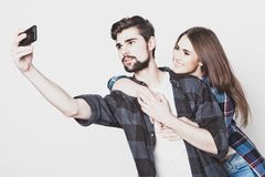 Loving couple making selfie Stock Photography