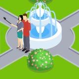 Loving Couple Making Selfie Isometric Layout Stock Images