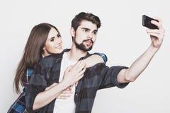 Loving couple making selfie Royalty Free Stock Photos