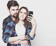 Loving couple making selfie Royalty Free Stock Image