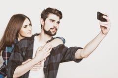 Loving couple making selfie Stock Photos