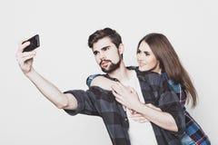 Loving couple making selfie Royalty Free Stock Photo