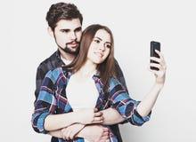 Loving couple making selfie Stock Image