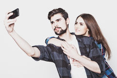 Loving couple making selfie Stock Photo