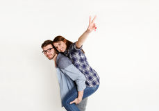 Loving couple, man piggybacking girlfriend, cutout Stock Image