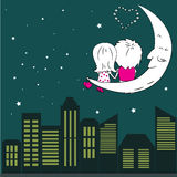 Loving couple man and woman sitting on the moon in the night cit Stock Images