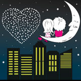 Loving couple man and woman sitting on the moon in the night  Stock Photos