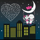 Loving couple man and woman sitting on the moon in the night  Stock Image