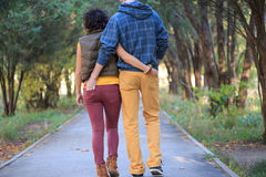 Loving couple. Man and woman are walking down the alley in the park, cuddling, holding hands in the pockets Royalty Free Stock Photo