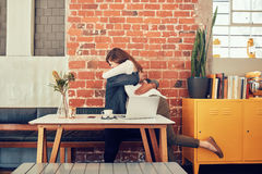Loving couple meeting in a coffee shop Stock Photography
