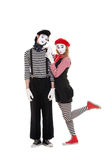 Loving couple of mimes Royalty Free Stock Photography