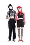 Loving couple of mimes Royalty Free Stock Images