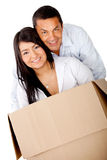 Loving couple moving house Royalty Free Stock Images